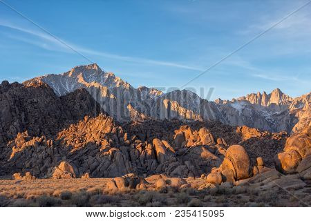 Lone Pine Peak View On Sunrise At Alabama Hills, Eastern Sierra Nevada Mountains, Lone Pine, Califor