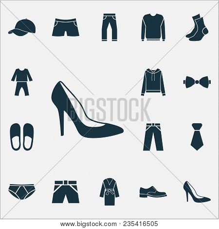 Garment Icons Set With Socks, Pajamas, Briefs And Other Swimming Trunk Elements. Isolated  Illustrat