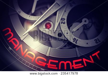 Management On The Fashion Wrist Watch Detail, Chronograph Up Close. Management - Old Pocket Watch Wi