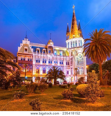 Batumi, Georgia - September 21, 2015: The Astronomical Clock Tower Night View In Europe Square In Th