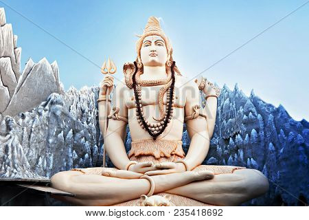 Bangalore, India - March 27: Big Lord Shiva Statue Sitting In Lotus With Trident On March 27, 2012 I