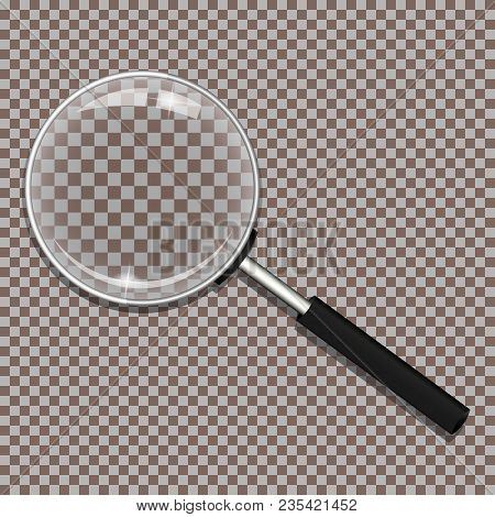 Realistic Magnifying Glass (loupe) On Transparent Background. Isolated Vector Illustration.
