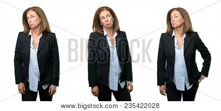 Middle age business woman having skeptical and dissatisfied look expressing Distrust, skepticism and doubt over white background