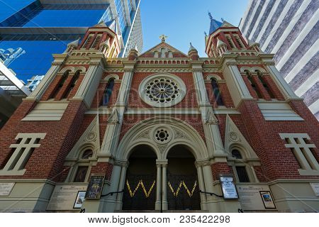 PERTH, AUSTRALIA - FEBRUARY 2018 : Exterior of Trinity Church in the City of Perth, Western Australia on February 24, 2018. It is located on St Georges Terrace.