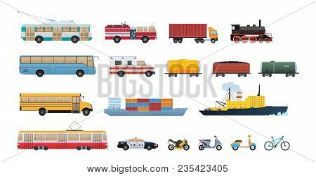 Set Of Modern Transport, Cars, Municipal Vehicles For Public Services, Water Vehicle For Transportat