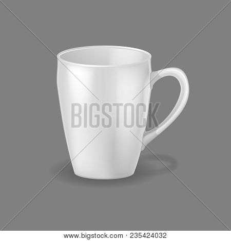 Realistic Template, Mock-up, Porcelain Ceramic Ware. Mug, Ware Dishes For Drinking Sweet Drinks, Tea