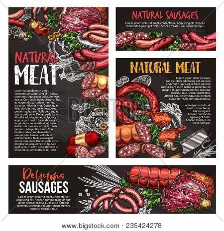 Natural Meat Product Blackboard Banner Set With Fresh Meat, Sausage And Spice Herb. Beef And Pork St