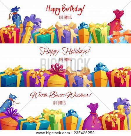 Gift Box And Present Packaging Banner Set. Festive Gift And Present Border With Bright Box, Pack And