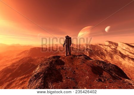 Astronaut Enter Into Derelict Planet Or Doing Some Exploration On A New Planet He Discover,3d Render