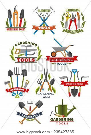 Gardening Tool Badge With Instrument And Equipment For Farming And Garden Work. Shovel, Rake And Whe