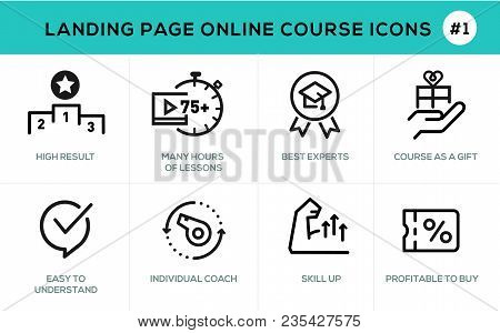 Flat Line Design Concept Icons Online E-learning , Online Education, Support, Online Course, E-learn