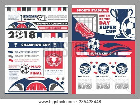Soccer Sport Stadium Poster For Football Championship Match. Football Sport Club Banner With Heraldi