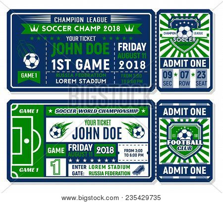 Soccer Ticket Template With Football Sport Club Badge Shield. Football Champion League Match Admissi