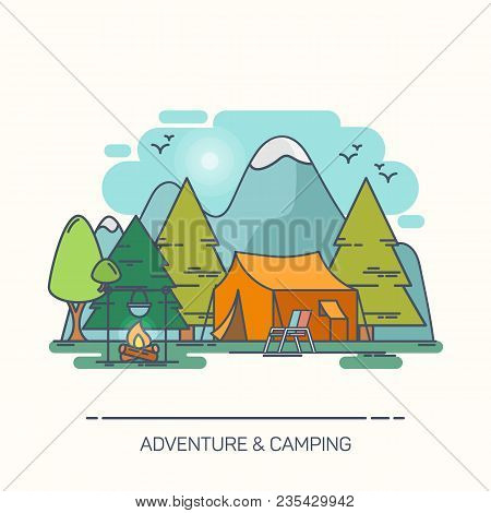 Camp In Forest With Mountains. Tent And Chair, Bivvy And Kettle On Campfire, Outdoor Adventure, Cart