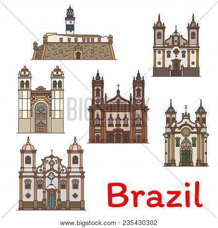 Brazilian Travel Landmark Icon Of Church Of Saint Francis Of Assisi And Paola, Metropolitan Cathedra