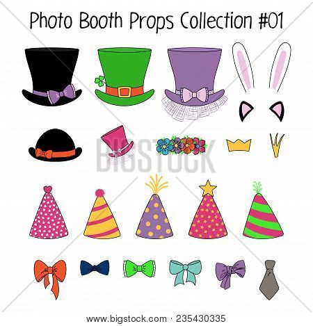 Set Of Hand Drawn Cartoon Photo Booth Props With Top Hats, Party Hats, Cat And Bunny Ears, Crowns, F