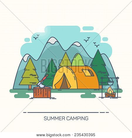 Tent In Wood Or Forest With Mountains. Bivvy And Stump Or Stub With Axe, Kettle On Fire. Tourist Lei