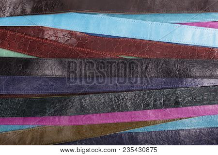 Background - Colored Leather Belts.  Astract Of Leather Straps, Textil
