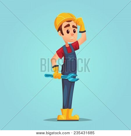 Confused Caucasian Builder With Adjustable Wrench Full Length Of Confused Worker With Helmet. Error