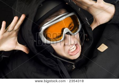 Snowboarding Boy Reacting On Accident