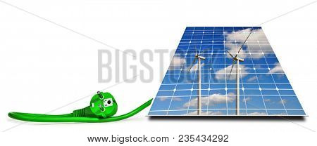 Wind turbines reflection in solar panel with green electric plug isolated on a white background. Clean energy concept.