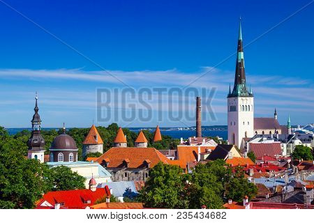 Aerial View Of The Old Town Of City Tallinn, Estonia, With The Spire Of Saint Nicholas' Church.