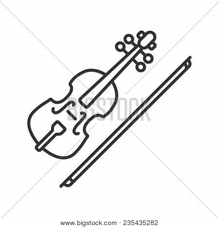 Violin Linear Icon. Thin Line Illustration. Fiddle. Contour Symbol. Vector Isolated Outline Drawing