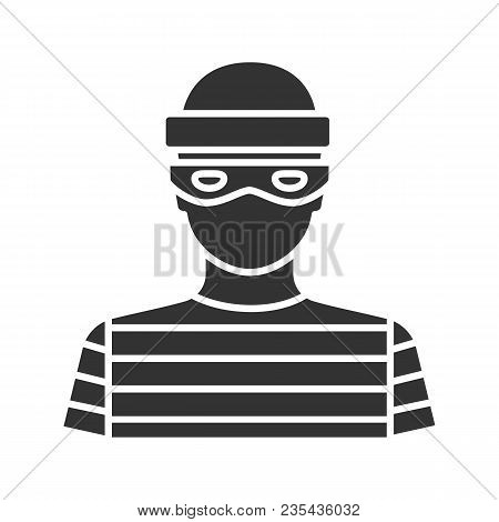 Robber Glyph Icon. Thief. Housebreaker. Silhouette Symbol. Negative Space. Vector Isolated Illustrat