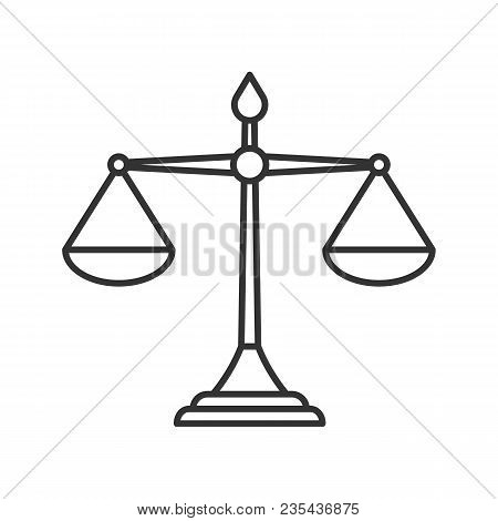 Justice Scales Linear Icon. Thin Line Illustration. Equality. Judgement. Contour Symbol. Vector Isol