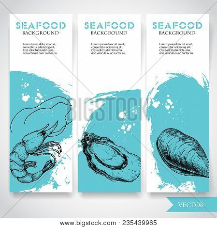 Seafood Banner With Watercolor Blue Background And Hand Drawn Food. Sketch Fresh Shrimp, Oyster And