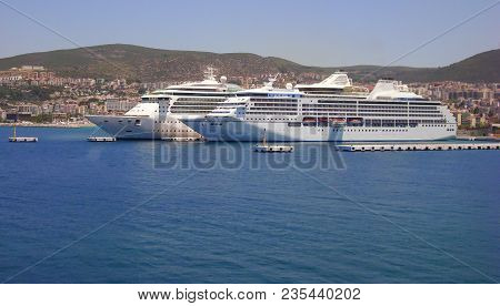 2 Big Cruise Ships Docked In Kusadasi, Turkey