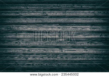 Old Black Knotty Wood Texture. Dark Wooden Background Of Rough Boards