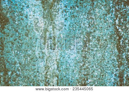 Abstract Grunge Background. Old Shabby Blue Surface With Rust Streaks