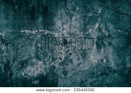 Cracked Weathered Concrete Wall Texture. Old Cement Surface Turquoise Malachite Color. Grunge Backgr