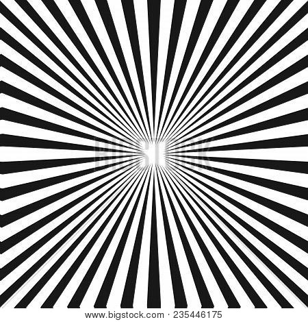 Black & White Sunburst Background. Vector Striped Seamless Pattern With Diagonal Concentric Lines. R