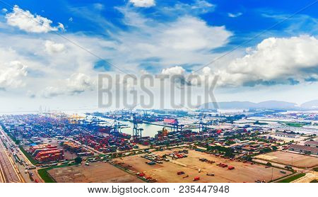 Landscape Aerial View Of Container Ship In Export And Import Business And Logistics. Shipping Cargo