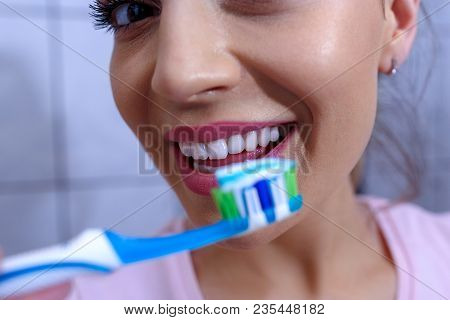 Clean And White Teeth. Ready For Cleaning Teeth, Toothbrush And Toothpaste Healthy Teeth Close Up
