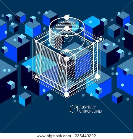 Geometric Technology Vector Dark Blue Drawing, 3d Technical Backdrop. Illustration Of Engineering Sy
