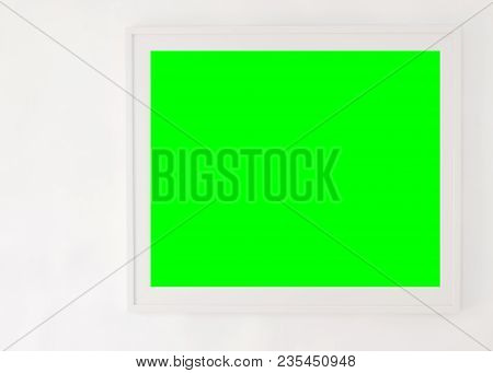 The Old White Cement Wall Background, Green Color Is Frame For Insert The Picture