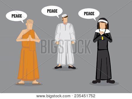 Monk, Nun And Muslim Prophet With Speech Balloons Saying Peace. Vector Illustration On Universal Goa