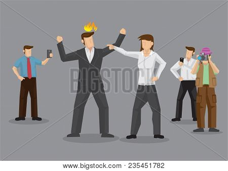 Couple In Argument And Curious Bystanders Around Using Mobile Phone To Record. Vector Illustration O