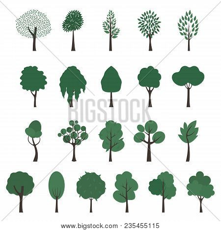 Trees Icons. Vector Set Of Trees Of Different Shapes On White Background. Green Foliage And Brown Tr