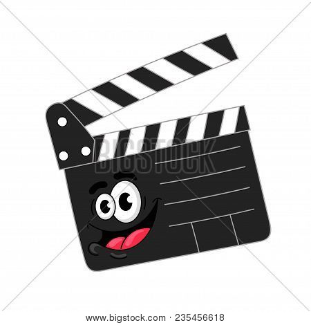 Funny Cartoon Open  Clapperboards On A White Background, Vector Illustration