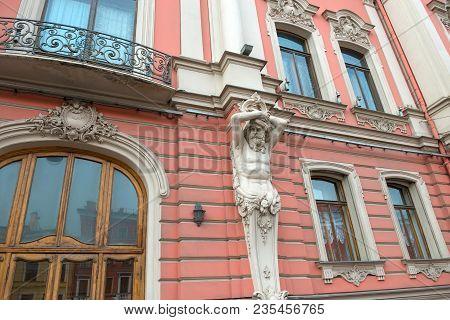 Atlas Statues On Building At Nevsky Prospekt In Saint Petersburg, Russia