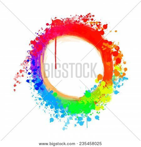 Colorful Painted Background Circle . Beautiful Hand Drawn Backdrop. Usable For Website, Social Media