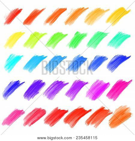 Big Set Of Oil Painted Strokes. Beautiful Hand Drawn Vector Elements. Usable For Website, Social Med