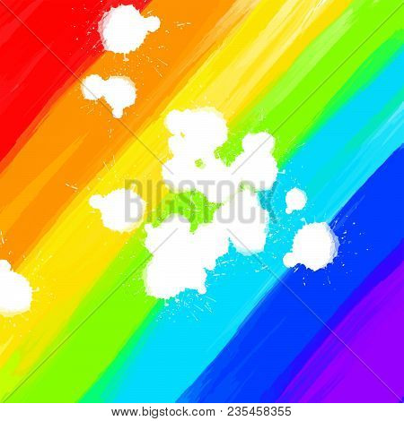 Rainbow Colored Background And White Drops. Beautiful Hand Drawn Vector Backdrop. Usable For Website