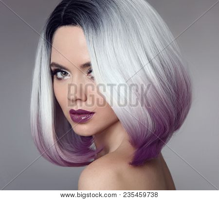 Ombre Bob Short Hairstyle. Beautiful Hair Coloring Woman. Trendy Haircut. Blond Model With Short Shi