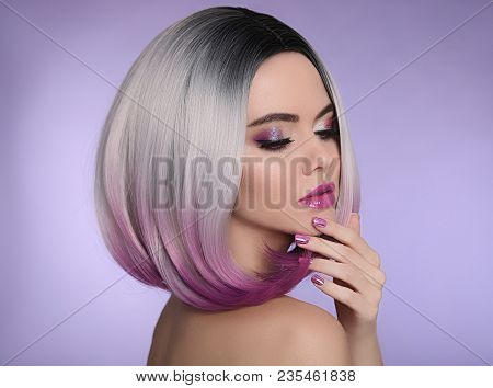 Ombre Bob Short Hairstyle. Beautiful Hair Coloring Woman. Trendy Haircuts. Purple Manicured Nails. B