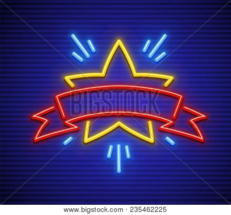 Victory, Winning Symbol In Game. Neon Star With Ribbon For Inscription. Sign Icon Of Neon Lamps With